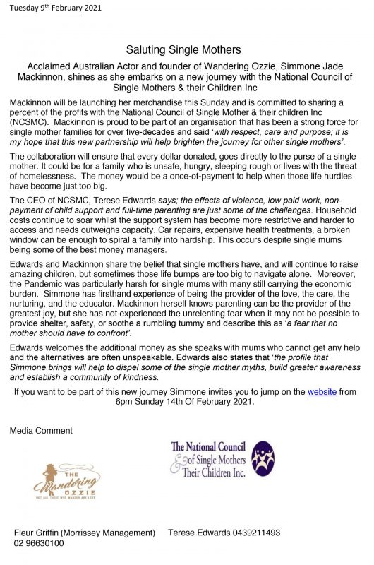 Simmone Jade Mackinnon & National Council of Single Mothers & their Children Inc Media Release 09-02-2021_01